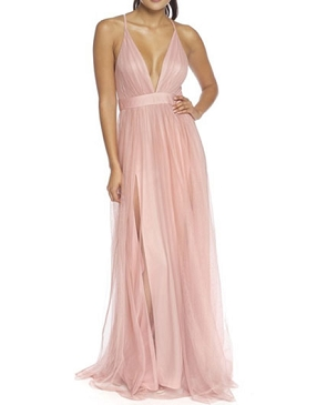 Blush Tulle Maxi Dress with Slits