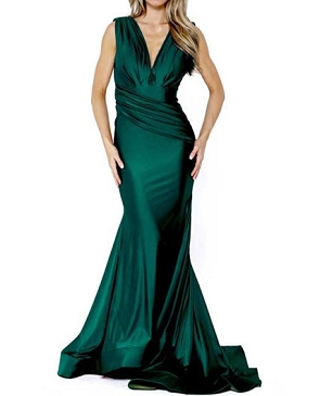 Crystal Mermaid Evening Dress w/Ruching- 2 Colors