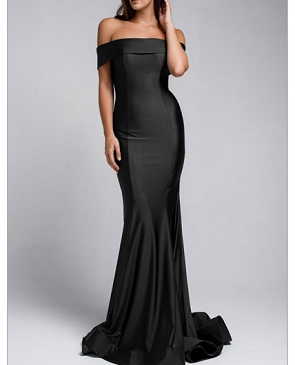 Crystal Off the Shoulder Mermaid Evening Dress- 4 Colors