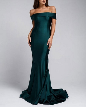 Crystal Off the Shoulder Mermaid Evening Dress- 3 Colors