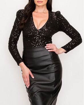 Long Sleeve Sequins V-Neck Bodysuit- 2 Colors