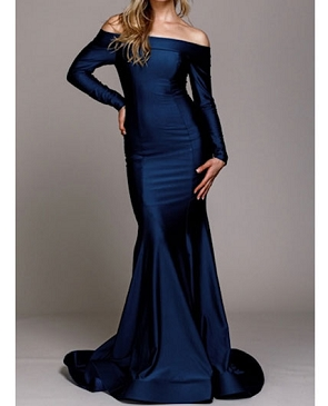 Crystal Long Sleeve Off the Shoulder Mermaid Evening Dress- 2 Colors