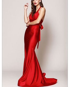 Crystal Halter Mermaid Evening Dress- 3 Colors