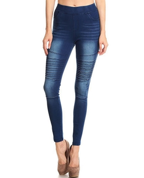 Moto Style Stretch Denim Jeggings