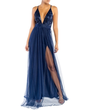 Navy Sequins and Tulle Maxi Dress with Slits
