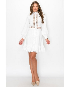 Long Sleeve Crochet Short Dress- 2 Colors