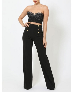 High Waist Pants with Gold Buttons- 2 Colors