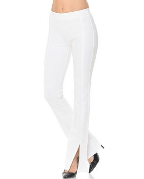 Ponte Knit Dress Pants with slits- 2 Colors