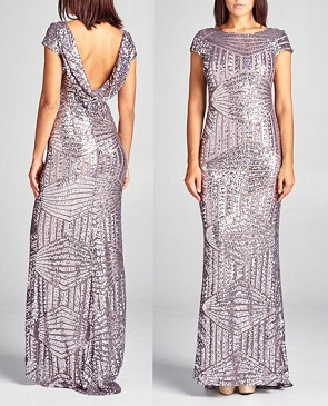 Sequins Cap Sleeve Formal Dress w/Open Back- 4 Colors
