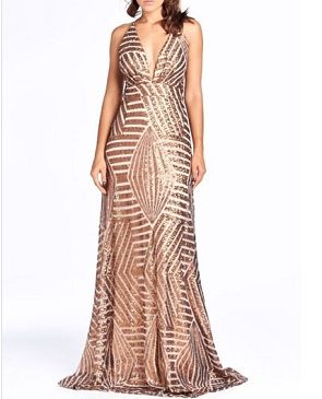 Bronze Sequins Evening Dress