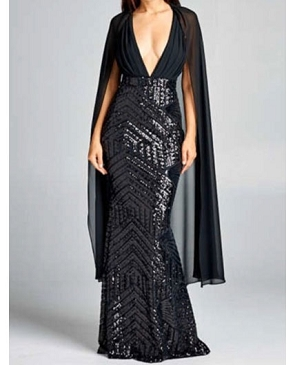 Black Halter Sequins Evening Dress w/Chiffon Cape