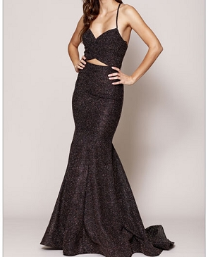 Black Glitter Mermaid Evening Dress with Midriff Cutout