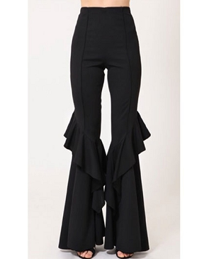 Black Ruffle Bell Bottom Pants