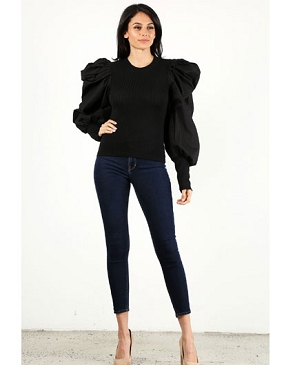 Dramatic Puff Sleeve Ribbed Top- 2 Colors