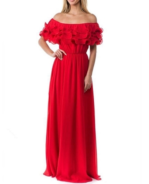 Red Chiffon Off the Shoulder Long Dress with Ruffles
