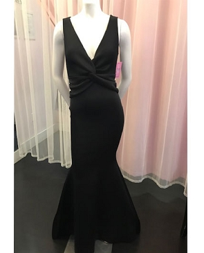 Black Scuba V-Neck Mermaid Formal Dress