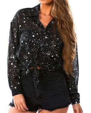 Black Button Down Long Sleeve Blouse with Star Print