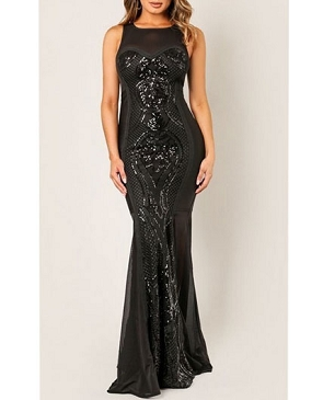 Bandage Mesh Evening Dress with Sequins