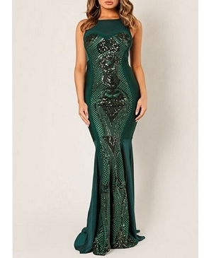Bandage Mesh Evening Dress with Sequins- 2 Colors