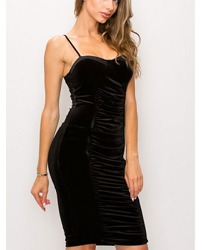 Black Velvet Ruched Midi Dress