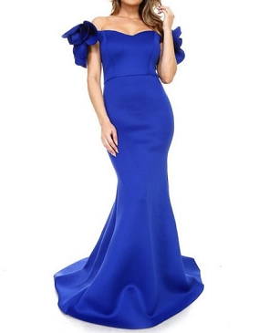 Scuba Off the Shoulder Evening Dress w/Rosets- 2 Colors