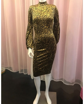 Animal Print Velour Cocktail Dress w/Bubble Sleeves