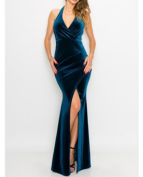 Teal Velvet Halter Formal Dress