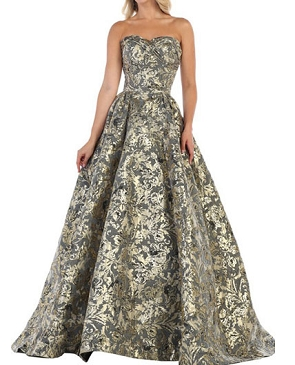 Gold Floral Brocade Ball Gown Dress