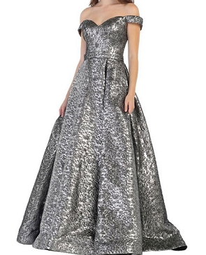 Silver Brocade Off the Shoulder Ball Gown