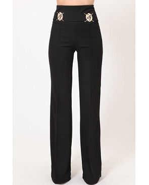 Black High Waist Pants w/Lion Face Trims
