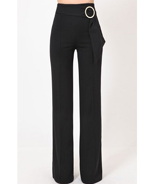 Black High Waist Pants w/Side Circle Trim and Sash