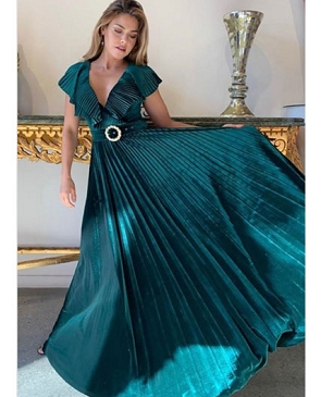 Velvet Pleaded V-Neck Long Dress with Belt- 3 Colors