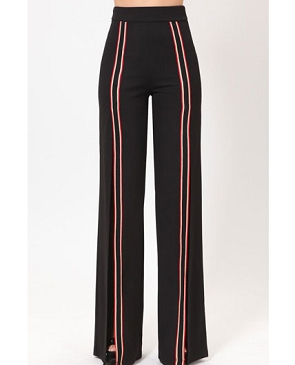 Black High Waist Pants w/Slits and Racer Stripes