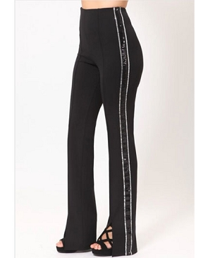 Black Pants with Sequins Side Stripes