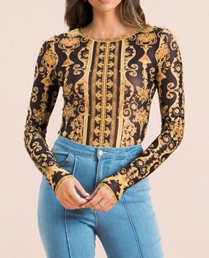 Arabesque Print Mesh Long Sleeve Bodysuit