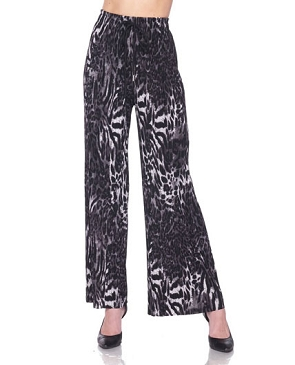 Animal Print Grey Pleaded Palazzo Pants