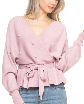 L/S Dolman Sweater Top w/Pearls- 3 Colors