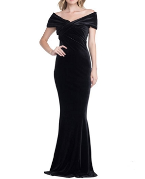 Black Velvet Off the Shoulder Formal Dress