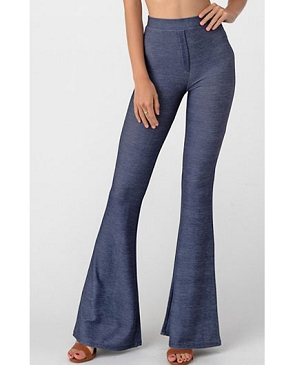 Denim Cotton Pants w/Bottom Flare- 2 Colors