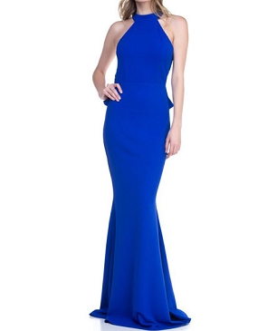 Royal Blue Halter Formal Dress w/Open Back and Ruffles