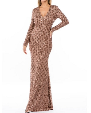 Bronze Sequins Long Sleeve Formal Dress