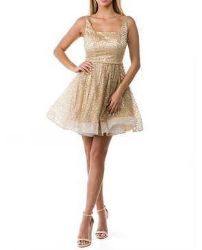 Gold Glitter Short Party Dress