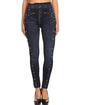 Denim Seamless Jeggings with Pearl Trims
