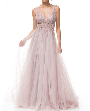 Mauve Tulle Evening Dress w/Beaded Bodice