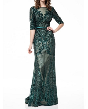 Long Sleeve Emerald Sequins Evening Dress