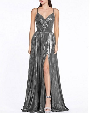 Metallic Pleaded Formal Dress- 2 Colors
