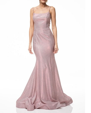 Blush Metallic Glitter Mermaid Evening Dress