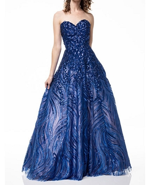Strapless Sequins Ball Gown- 2 colors