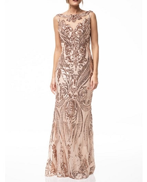 Rose Gold Sequins Lace Evening Dress w/Open Back