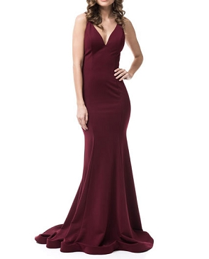 Burgundy V-Neck Mermaid Dress w/Sequins Back